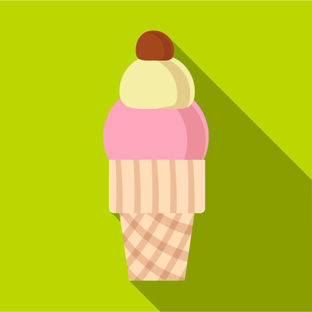 glace: Strawberry ice cream in waffle cup icon. Flat illustration of strawberry ice cream in waffle cup vector icon for web isolated on lime background