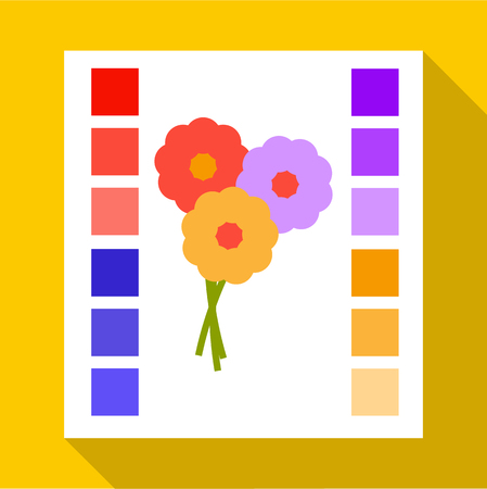 Printed sample with a palette of colors icon. Flat illustration of printed sample with a palette of colors vector icon for web isolated on yellow background Illustration