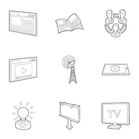 hub computer: Broadcast icons set. Outline illustration of 9 broadcast vector icons for web