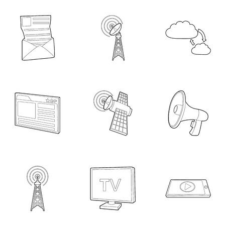 tv tower: Internet connection icons set. Outline illustration of 9 internet connection vector icons for web Illustration