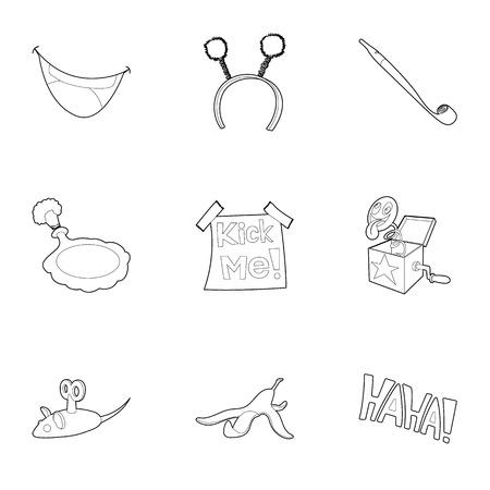 Funny joke icons set. Outline illustration of 9 funny joke vector icons for web