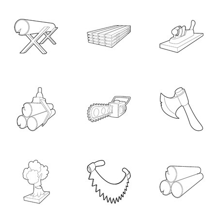 deforestacion: Iconos de deforestación. Ilustración del esquema de iconos del vector 9 de deforestación para la web