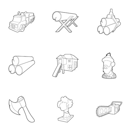 logging: Firewood icons set. Outline illustration of 9 firewood vector icons for web