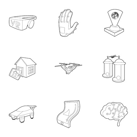 inductor: Innovation icons set. Outline illustration of 9 innovation vector icons for web Illustration