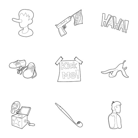Jocularity icons set. Outline illustration of 9 jocularity vector icons for web