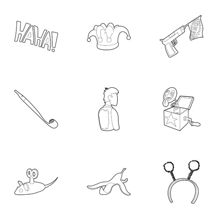 fool: April fool day icons set. Outline illustration of 9 April fool day vector icons for web Illustration