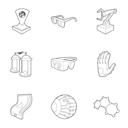 inductor: Computer latest devices icons set. Outline illustration of 9 computer latest devices vector icons for web