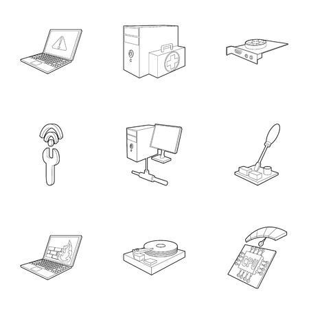hub computer: Treatment computer icons set. Outline illustration of 9 treatment computer vector icons for web