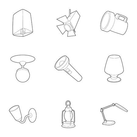 lamp outline: Lamp icons set. Outline illustration of 9 lamp vector icons for web