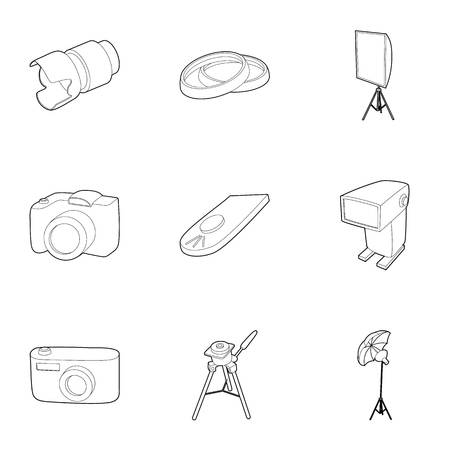 photography icons: Photography icons set. Outline illustration of 9 photography vector icons for web