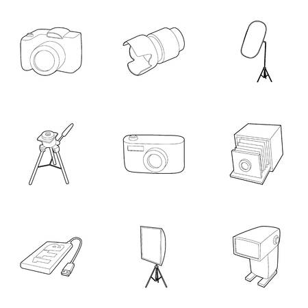 tb: Photo shooting icons set. Outline illustration of 9 photo shooting vector icons for web