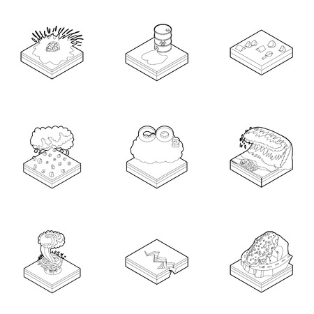 rockfall: Disaster icons set. Outline illustration of 9 disaster vector icons for web Illustration