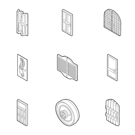 double entry: Door icons set. Outline illustration of 9 door vector icons for web