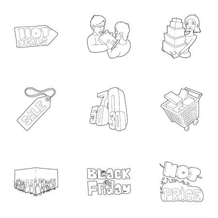 seventy two: Sale icons set. Outline illustration of 9 sale vector icons for web Illustration