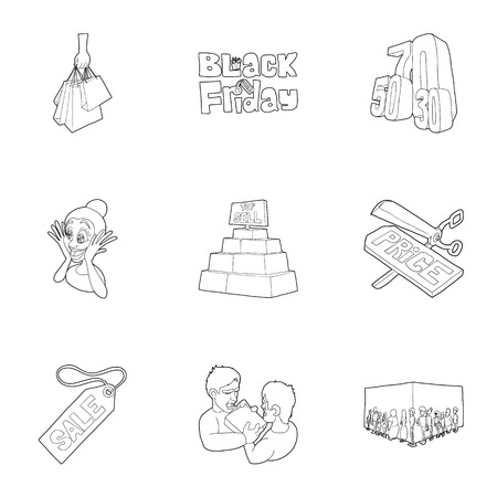 Hot sales icons set. Outline illustration of 9 hot sales vector icons for web