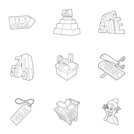 Large discounts icons set. Outline illustration of 9 large discounts vector icons for web Illustration