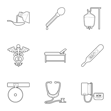 purpose: Purpose of treatment and diagnosis icons set. Outline illustration of 9 purpose of treatment and diagnosis vector icons for web Illustration