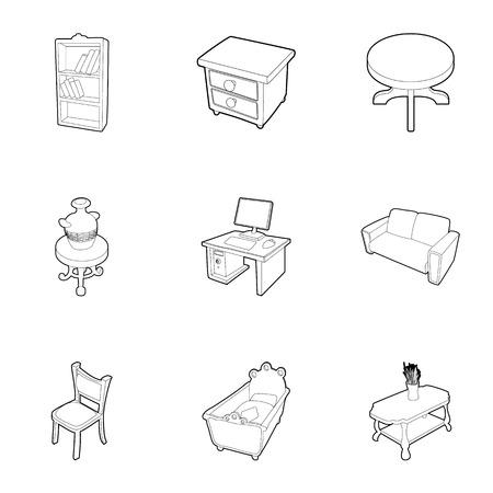 arredamento classico: Complementi arredo icone set. Illustrazione del profilo del 9 di arredamento vettoriale icone per il web