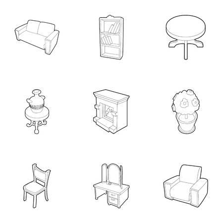 home furniture: Home furniture icons set. Outline illustration of 9 home furniture vector icons for web Illustration