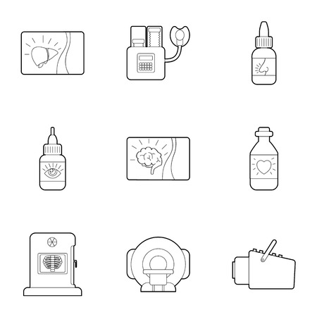 Medical examination icons set. Outline illustration of 9 medical examination vector icons for web