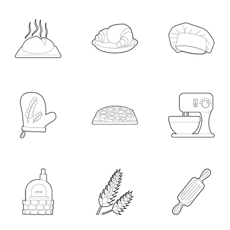 patisserie: Patisserie icons set. Outline illustration of 9 patisserie vector icons for web Illustration