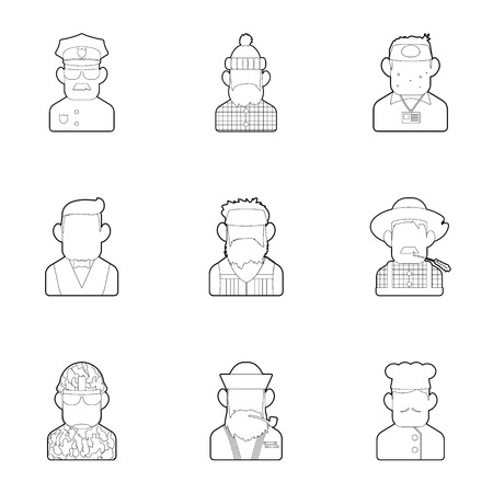 woodsman: Specialty icons set. Outline illustration of 9 specialty vector icons for web