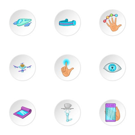 flexible: New thing icons set. Cartoon illustration of 9 new thing vector icons for web