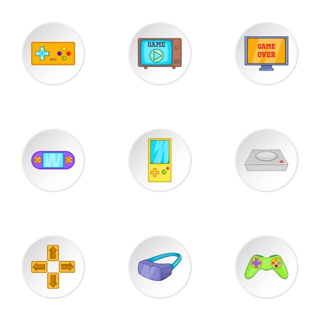 psp: Game console icons set. Cartoon illustration of 9 game console vector icons for web