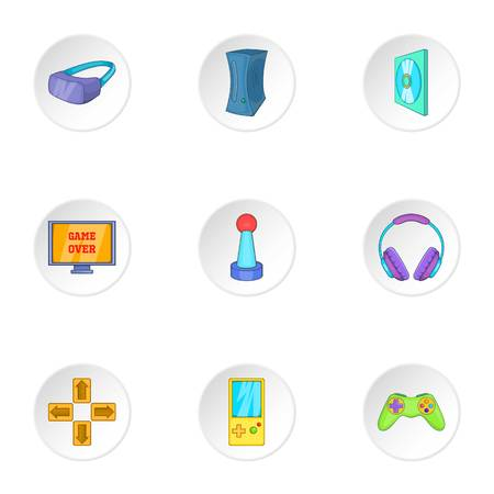 shifting: Play station icons set. Cartoon illustration of 9 play station vector icons for web