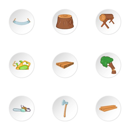 firewood: Firewood icons set. Cartoon illustration of 9 firewood vector icons for web