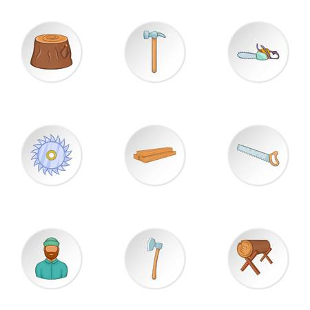 woodpile: Sawing icons set. Cartoon illustration of 9 sawing vector icons for web
