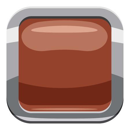 broun: Broun square button icon. Cartoon illustration of square button vector icon for web design