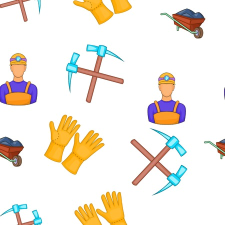 Mining and quarrying industry pattern. Cartoon illustration of mining and quarrying industry vector pattern for web Illustration