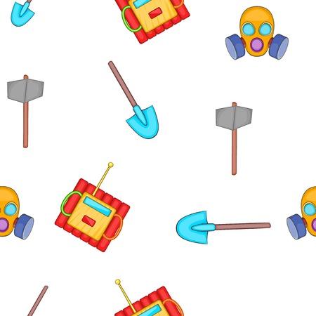 Mining elements pattern. Cartoon illustration of mining elements vector pattern for web