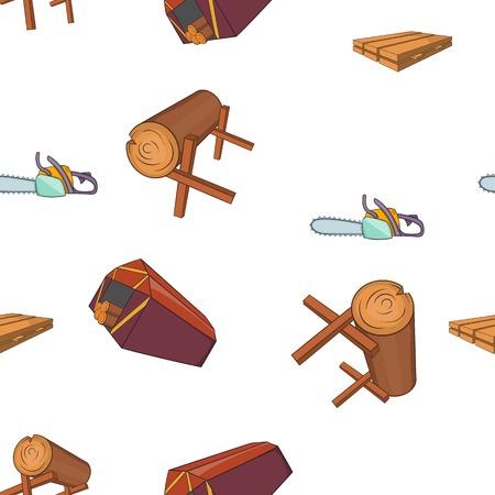 logging: Sawmil and timber pattern. Cartoon illustration of sawmil and timber vector pattern for web Illustration