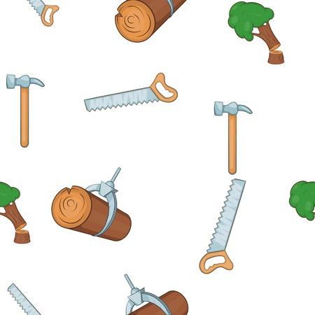 Woodworking pattern. Cartoon illustration of woodworking vector pattern for web Illustration