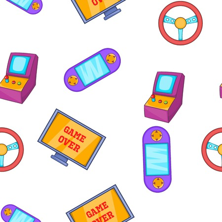 handheld device: Video game pattern. Cartoon illustration of video game vector pattern for web