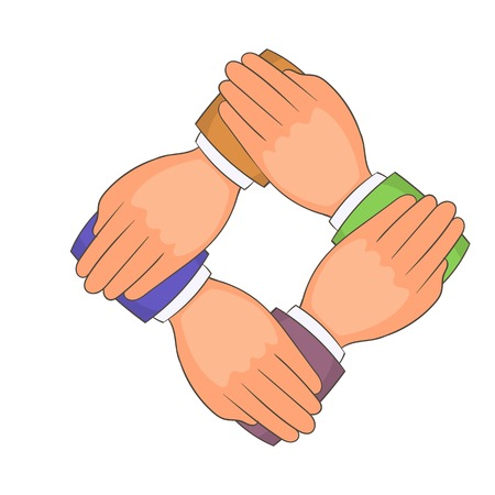mutual assistance: Four hands icon. Cartoon illustration of four hands vector icon for web Illustration
