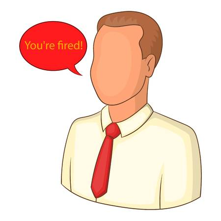 you are fired: You are fired icon. Cartoon illustration of you are fired vector icon for web
