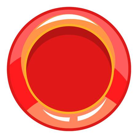 red button: Red button icon. Cartoon illustration of red button vector icon for web