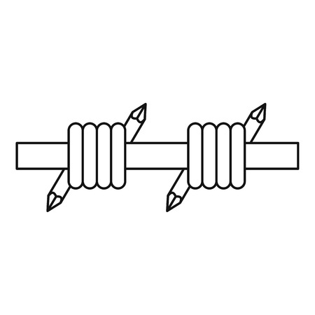 barbed: Barbed wire icon. Outline illustration of barbed wire vector icon for web
