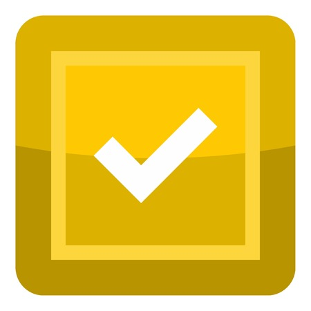 Yellow button icon. Cartoon illustration of yellow button vector icon for web