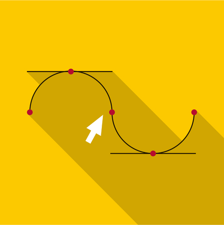 Drawing the curve icon. Flat illustration of curve vector icon for web design Illustration