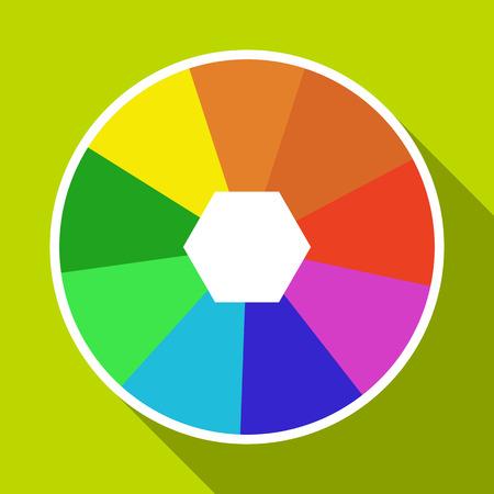 Color wheel icon. Flat illustration of color wheel vector icon for web design Illustration