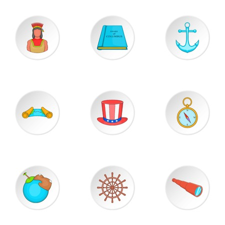 discovery: Discovery of America icons set. Cartoon illustration of 9 discovery of america vector icons for web