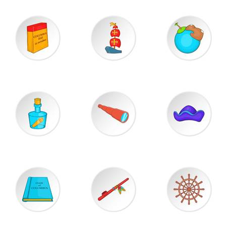 geography: Geography icons set. Cartoon illustration of 9 geography vector icons for web