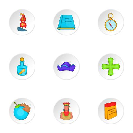 pioneer: Pioneer icons set. Cartoon illustration of 9 pioneer vector icons for web