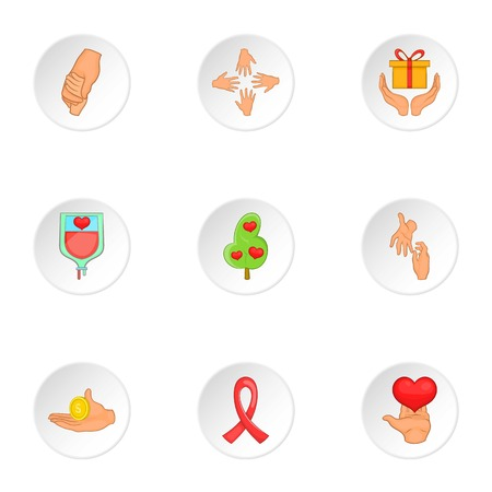 philanthropy: Philanthropy icons set. Cartoon illustration of 9 philanthropy vector icons for web