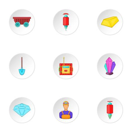 Colliery Symbole gesetzt. Cartoon Illustration von 9 Zechen Vektor-Icons für Web