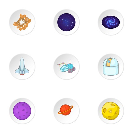rover: Space icons set. Cartoon illustration of 9 space vector icons for web